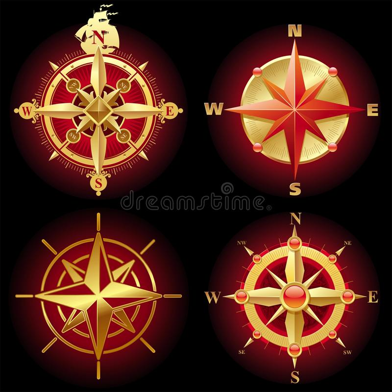Golden vector compass rose royalty free illustration