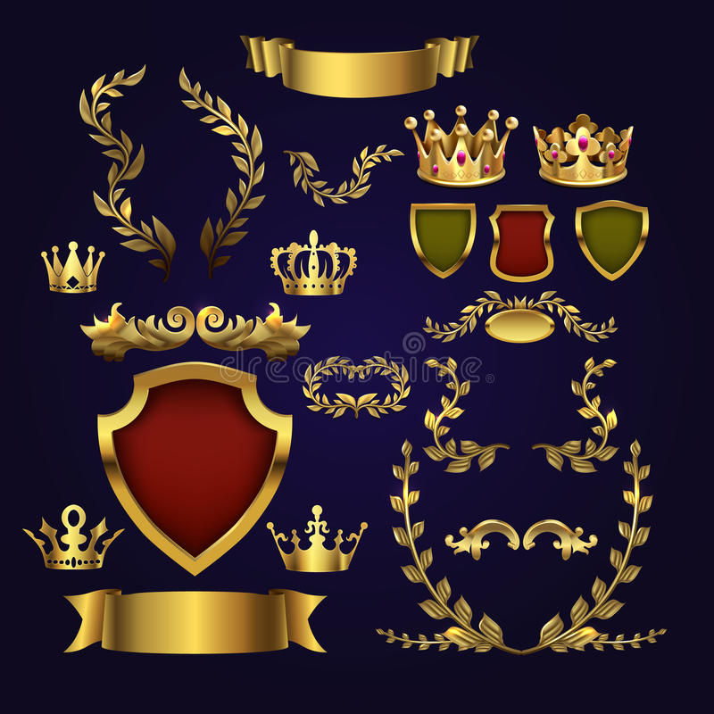 Golden vector heraldic elements. Kings crowns, laurel wreath and royal shield for 3d labels and badges royalty free illustration