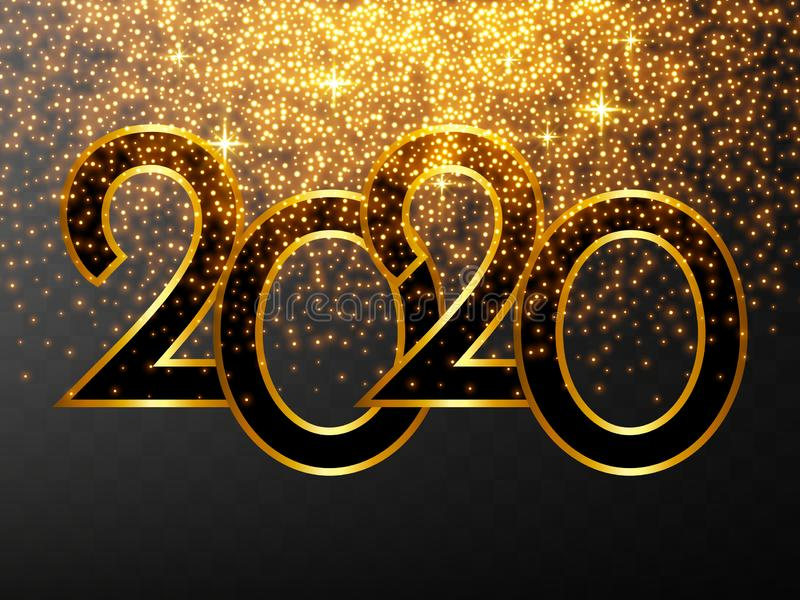 Golden Vector luxury text 2020 Happy new year. Gold Festive Numbers Design, diamonds texture. Gold shining glitter confetti. vector illustration