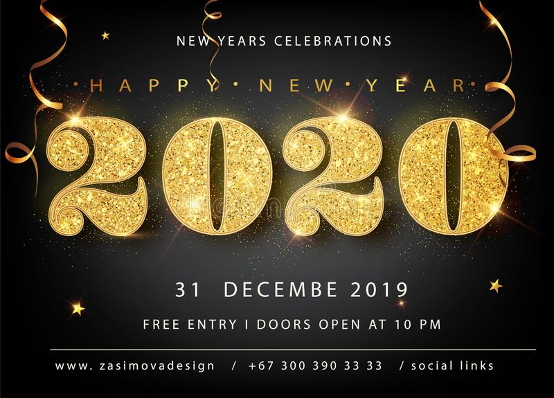 Golden Vector luxury text 2020 Happy new year. Gold Festive Numbers Design, diamonds texture. Gold shining glitter vector illustration