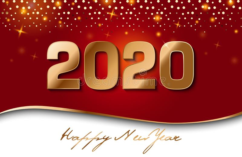 Golden Vector luxury text 2020 Happy new year. Gold Festive Numbers Design, diamonds texture. Gold shining glitter confetti. Happy vector illustration
