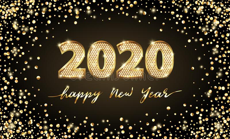 Golden Vector luxury text 2020 Happy new year. Gold Festive Numbers Design. Gold glitter confetti. Banner 2020 Digits stock photo