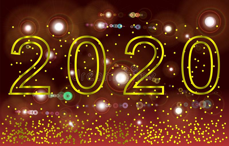 Golden Vector luxury text 2020 Happy new year. Gold Festive Numbers Design. Gold glitter confetti. Banner 2020 Digits. stock illustration