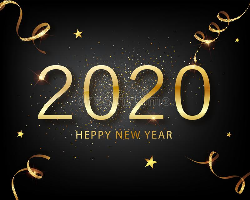 2020 Golden Vector luxury text Happy new year. Happy New Year 2020 - New Year Shining background with gold and glitter stock illustration