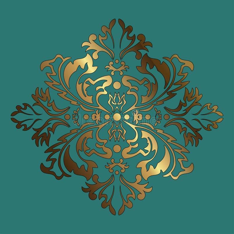 Golden vector pattern on a green background. Damask graphic ornament. Floral design element vector illustration