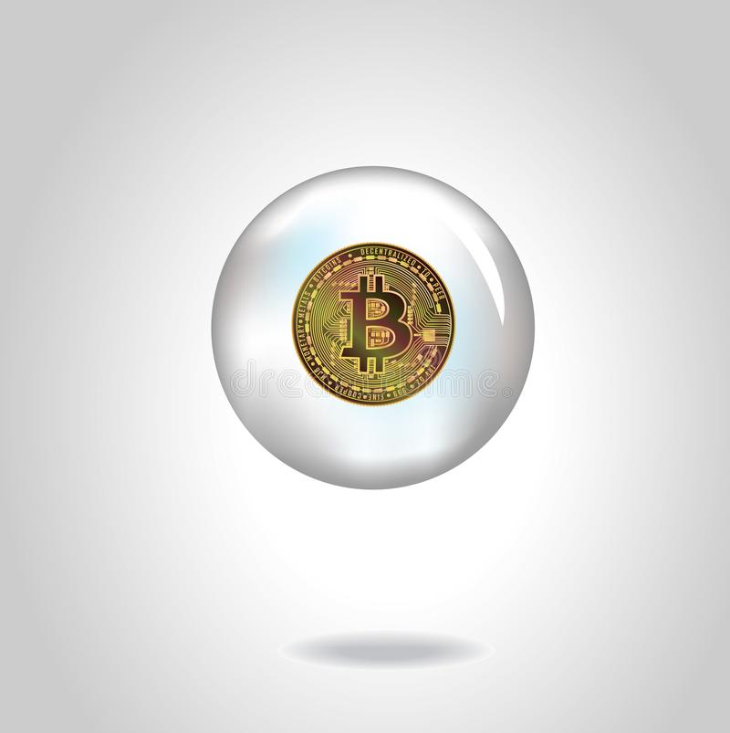 Golden vector realistic coin with bitcoin symbol in soap bubble. Eps10. stock photo