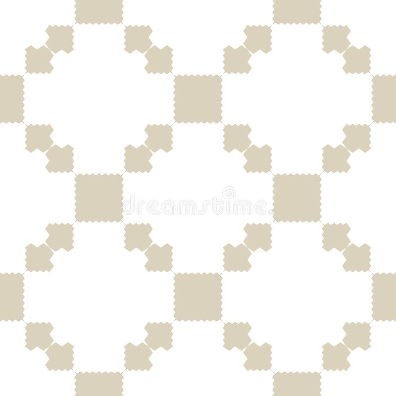 Golden vector seamless pattern with squares, jagged shapes, grid, repeat tiles. Ornamental ethnic motif. stock illustration