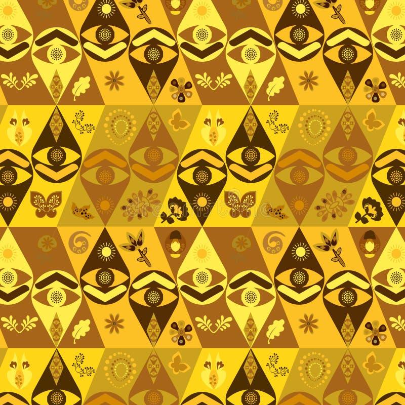 Golden vector tribal African pattern vector illustration