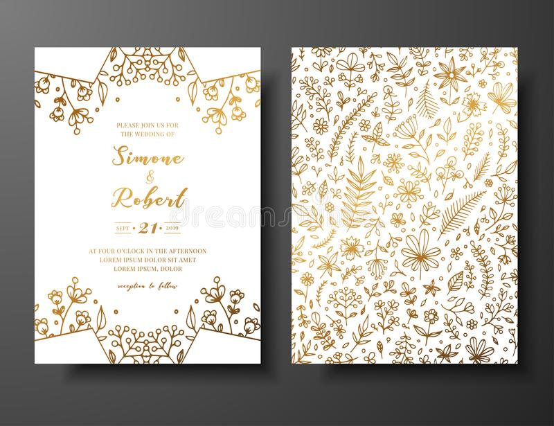 Golden vector wedding invitation with hand drawn twigs, flowers and brahches. Golden botanical template for wedding. Invite, save the date card, greeting card stock illustration