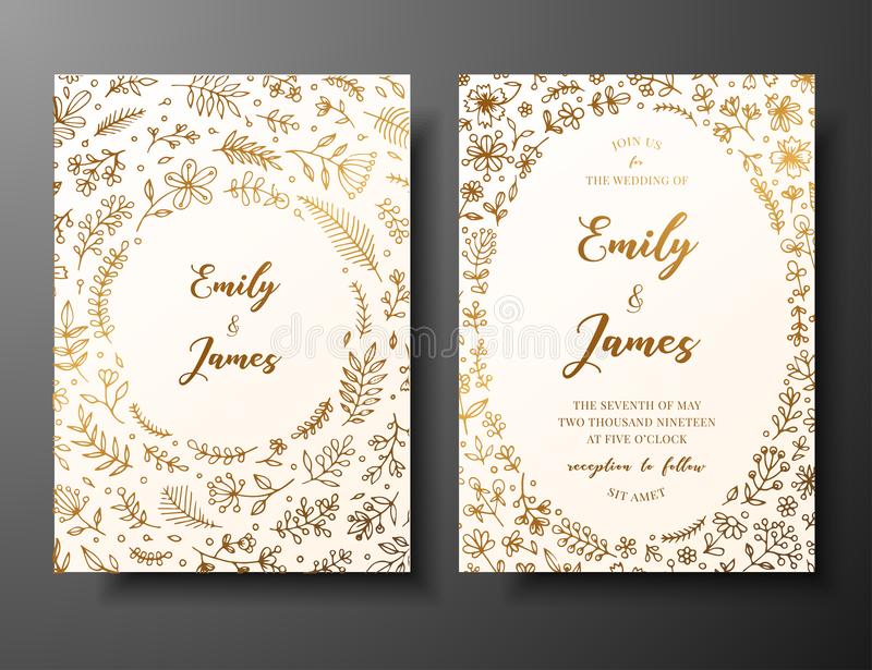 Golden vector wedding invitation with hand drawn twigs, flowers and brahches. Golden botanical template for wedding. Invite, save the date card, greeting card royalty free illustration