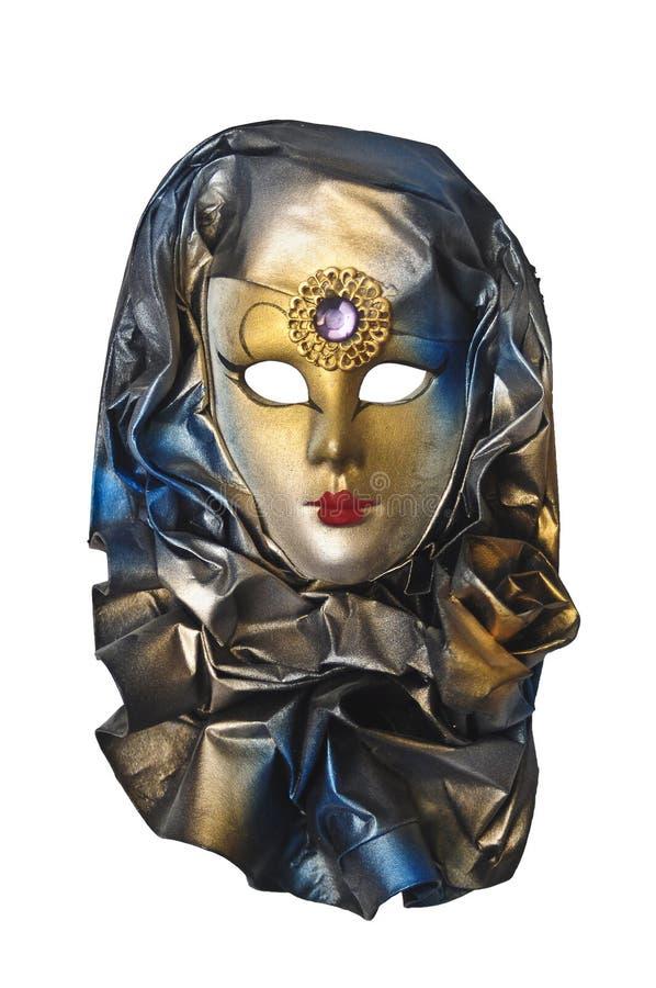 Golden venetian mask. Isolated over white stock photo