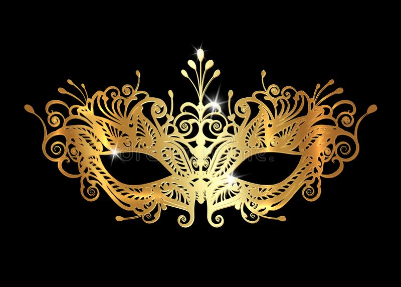 Golden Venetian mask realistic with laser cut gold embroidery. Stylish Masquerade Party. Mardi Gras card invitation. Night Party royalty free illustration