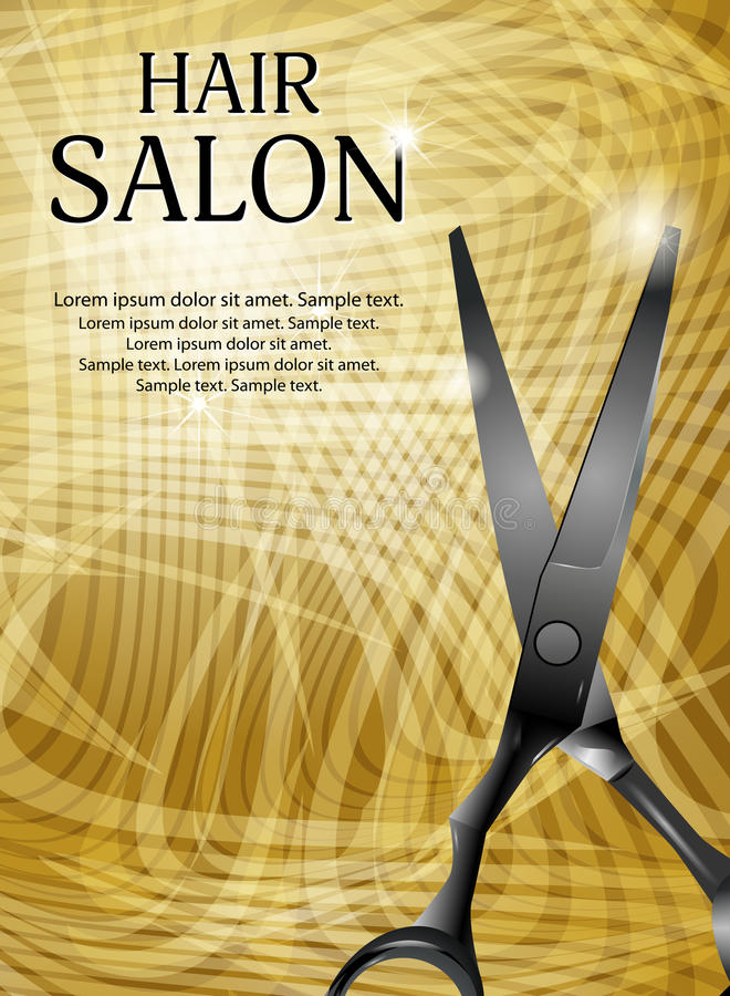 Golden vertical background with professional scissors for advert stock illustration