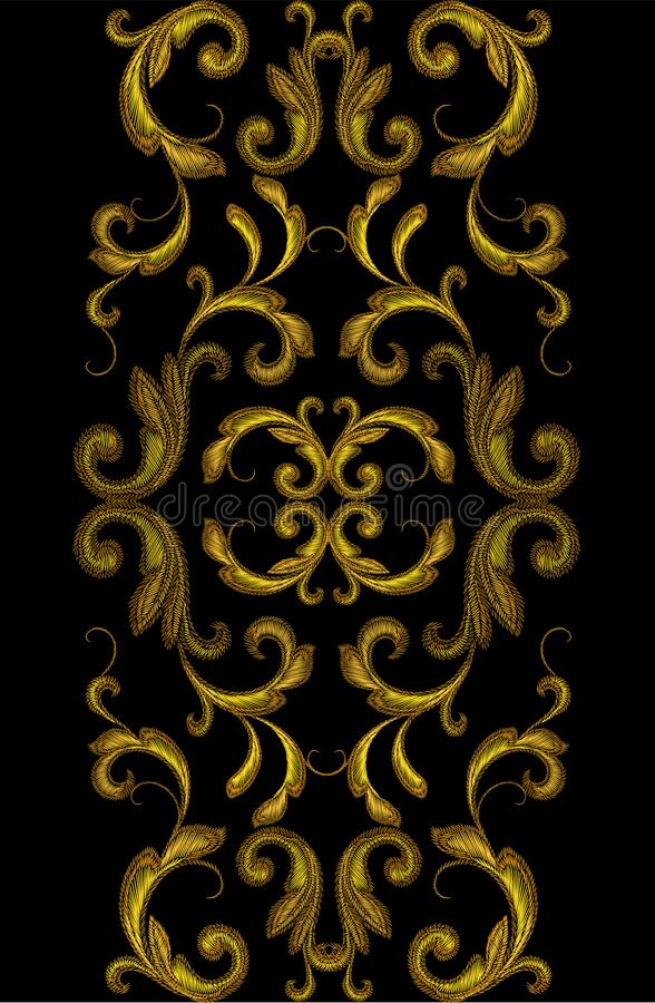 Golden Victorian Embroidery Floral Seamless Border Ornament. vector illustration