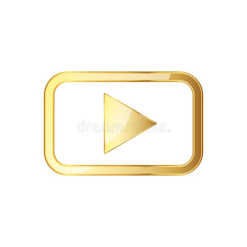 Golden video play icon. Vector illustration. stock illustration
