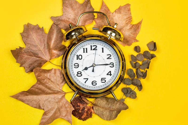 A golden vintage alarm clock with leaves. On a yellow background stock photos