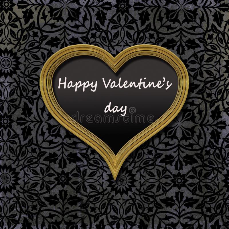 Happy Valentine`s day, vintage golden frame stock photo
