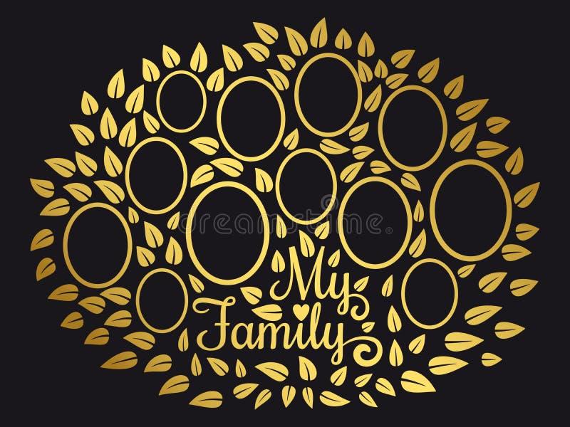 Golden vintage genealogy tree. Genealogical family tree vector illustration on black background. Genealogical tree connection generation stock illustration