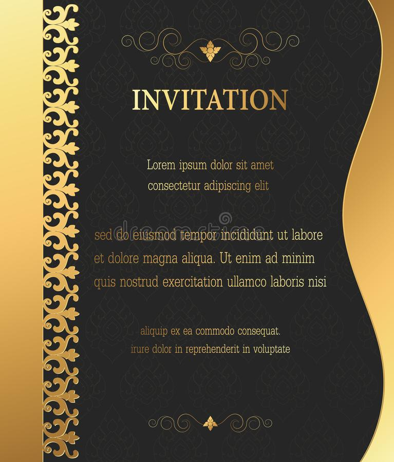 Golden vintage invitation, greeting,celebration,congratulations card abstract background. Vector illustration stock illustration