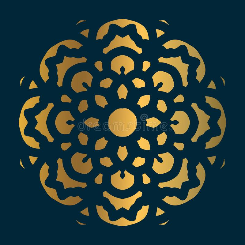 Golden vintage mandala art with circle abstract ornament. Mandala pattern background vector illustration