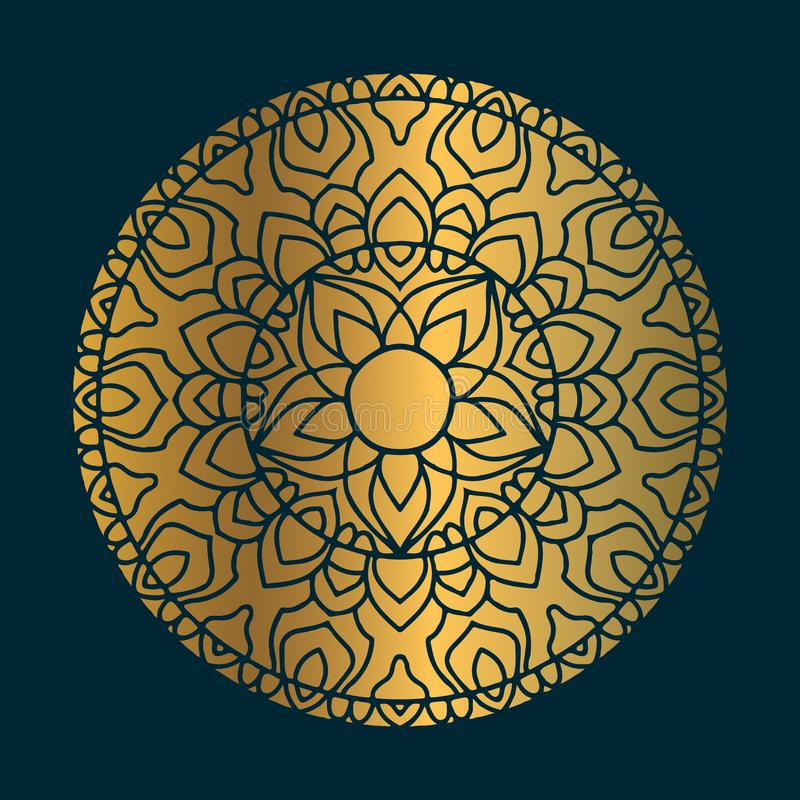 Golden vintage mandala art with circle abstract ornament. Mandala pattern background stock illustration