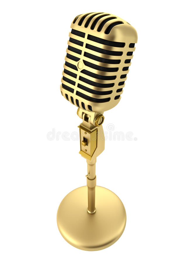 Golden vintage microphone isolated on white stock illustration
