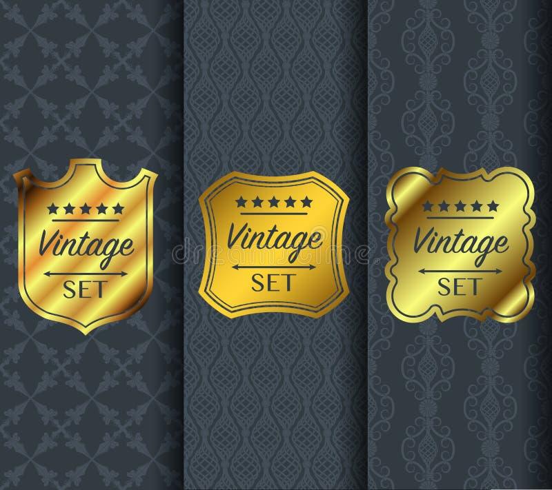Golden vintage pattern on dark background royalty free illustration