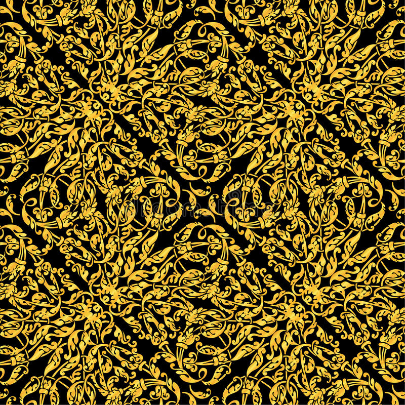 Golden vintage seamless pattern with lot of detailed elements on black background.Luxury design for invitation, greeteing cards stock illustration