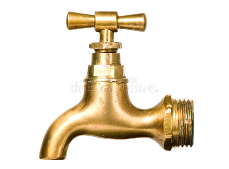 Golden vintage tap. On white isolated background stock images