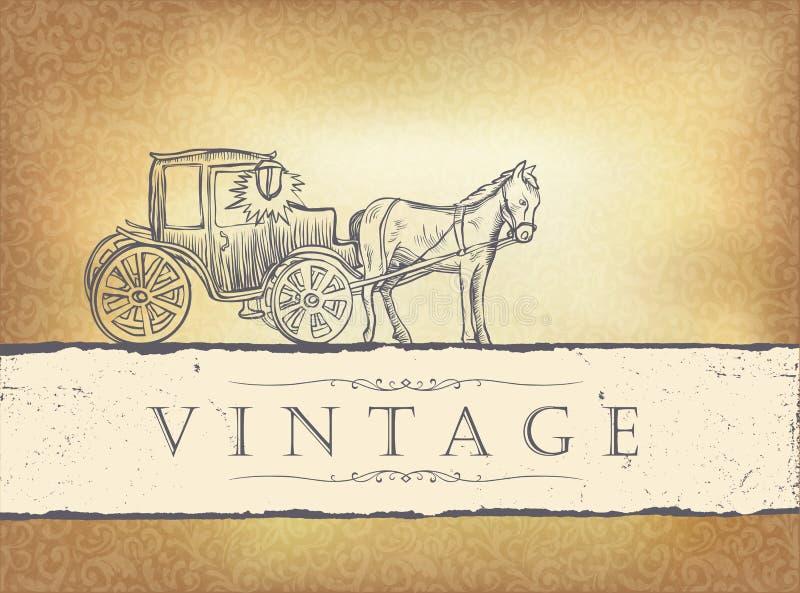 Golden vintage wedding invitation. royalty free illustration