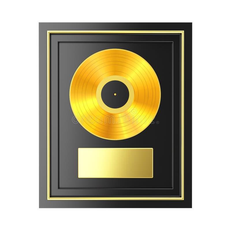 Golden Vinyl or CD Prize Award with Label in Black Frame. 3d Rendering. Golden Vinyl or CD Prize Award with Label in Black Frame on a white background. 3d royalty free illustration