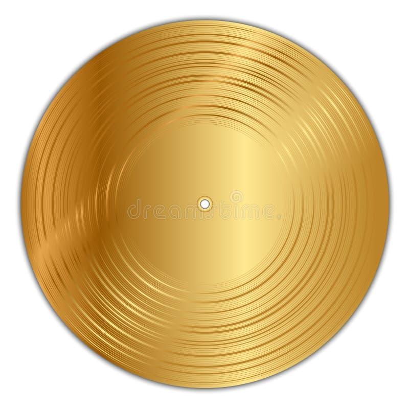 Golden vinyl record vector illustration