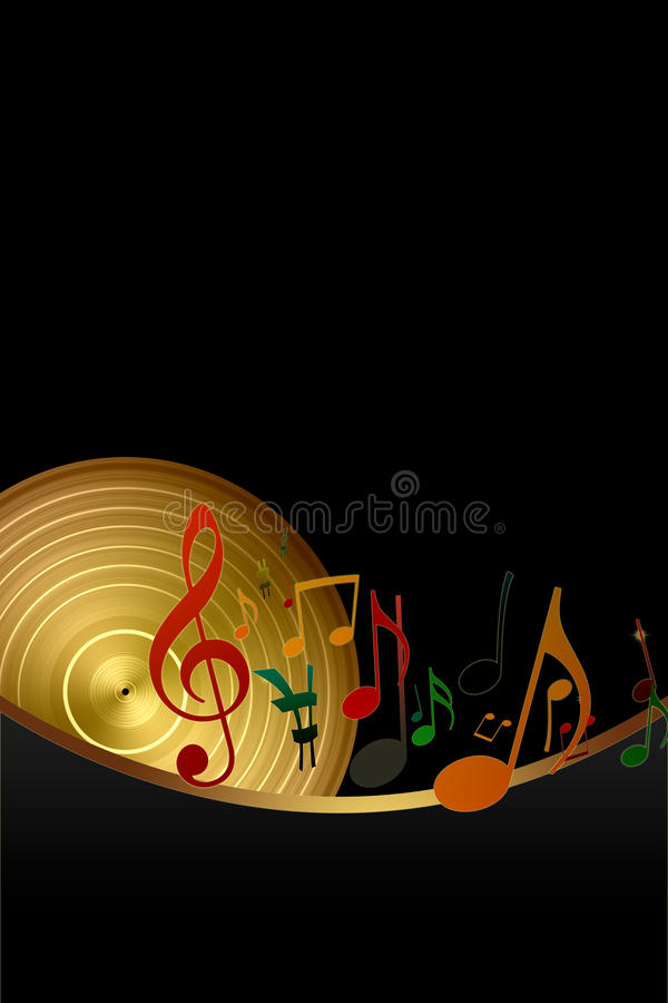 Golden Vinyl Record and Music Notes royalty free illustration