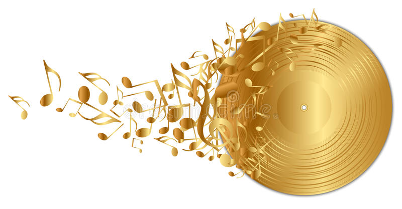 Golden vinyl record with notes stock illustration