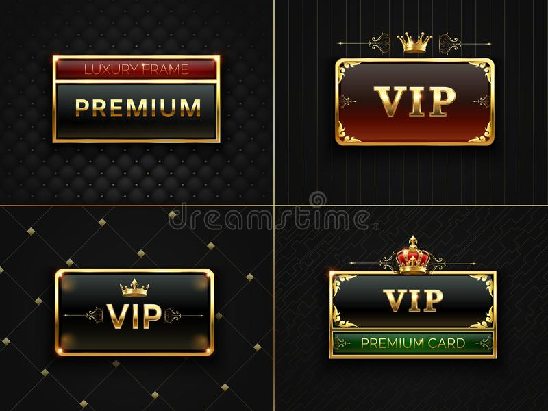 Golden Vip frame. Premium banner with gold insignia crown. Black luxury invitation card with gold frames. Exclusive vector illustration