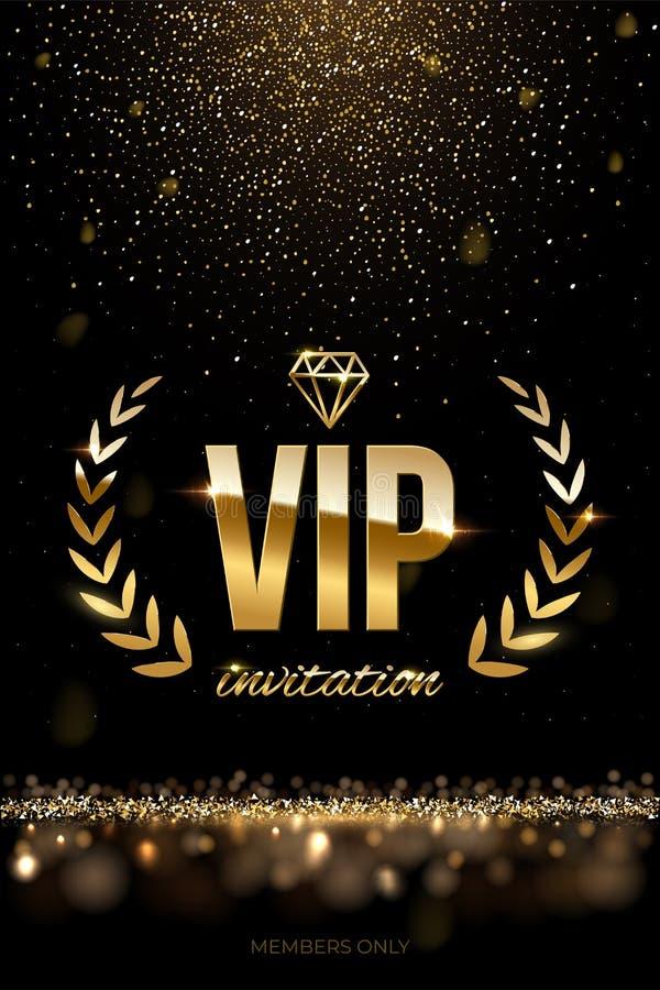 Golden VIP invitation template - type design with diamond, laurel wreath and golden glitter on dark luxury background royalty free illustration