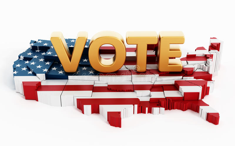 Golden vote text standing on USA map covered with USA flag vector illustration