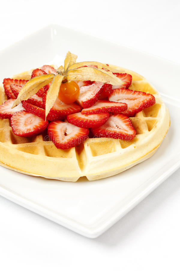 Download Golden Waffle With Strawberries Stock Image - Image of morning, closeup: 27630895