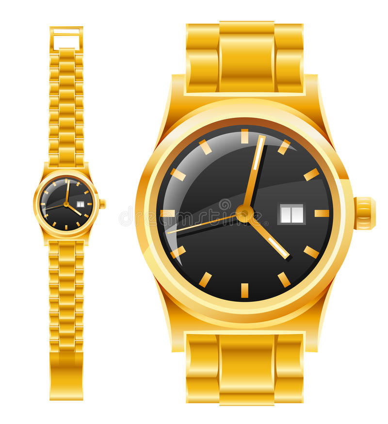 Golden watch with bracelet vector illustration