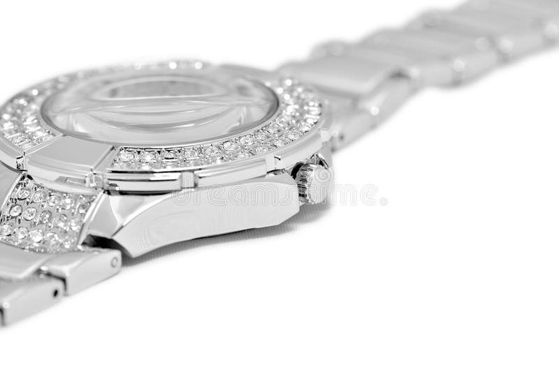 Silver watch detail stock photos