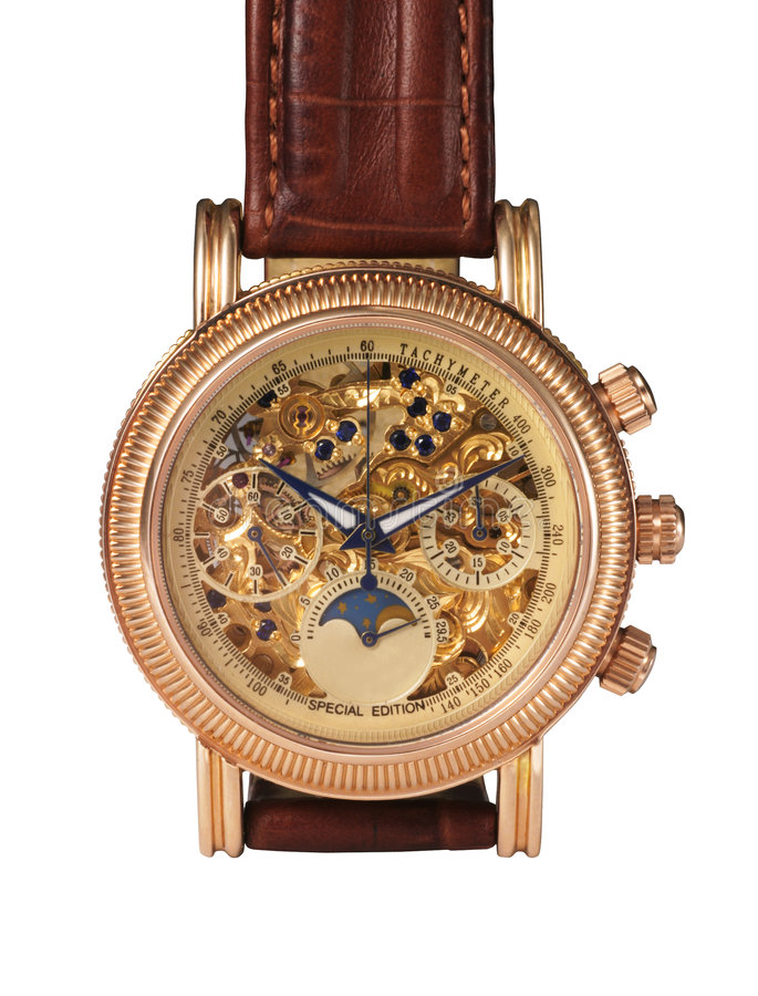 Golden Watch Mechanism Stock Photos