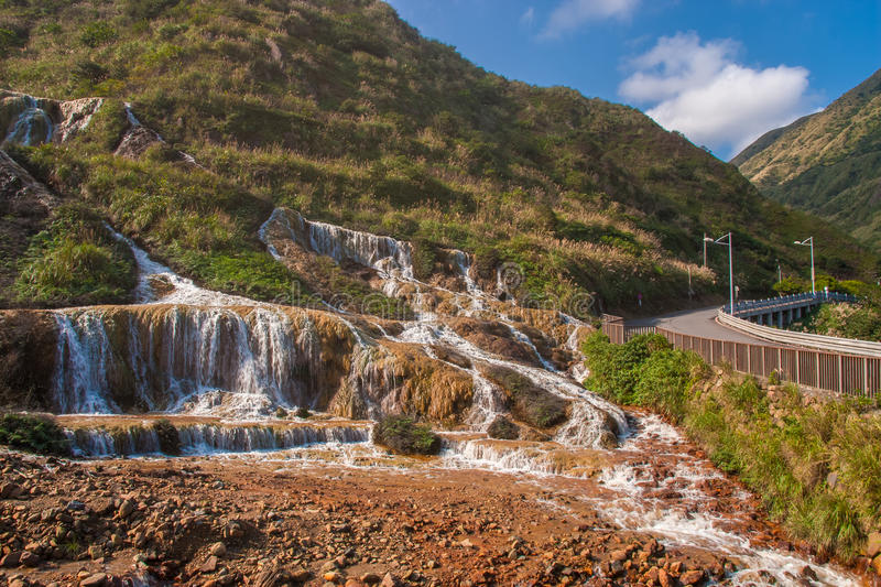 Golden Waterfall is one of the most beautiful waterfall in Taiwan royalty free stock photos