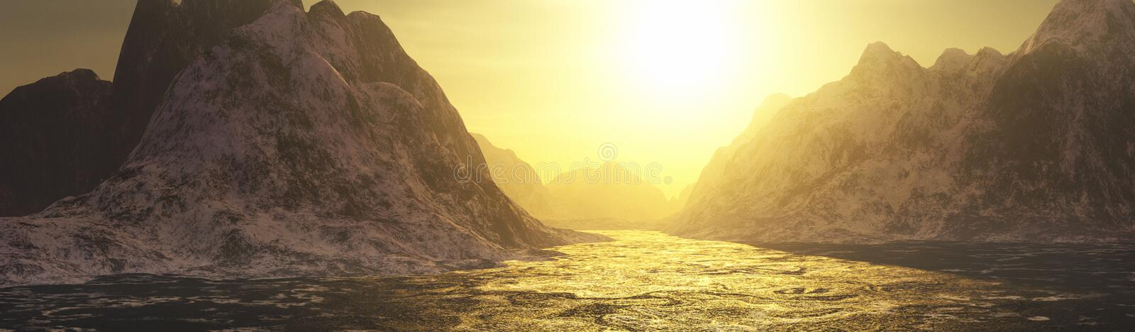 Golden waters and mountains landscape vector illustration
