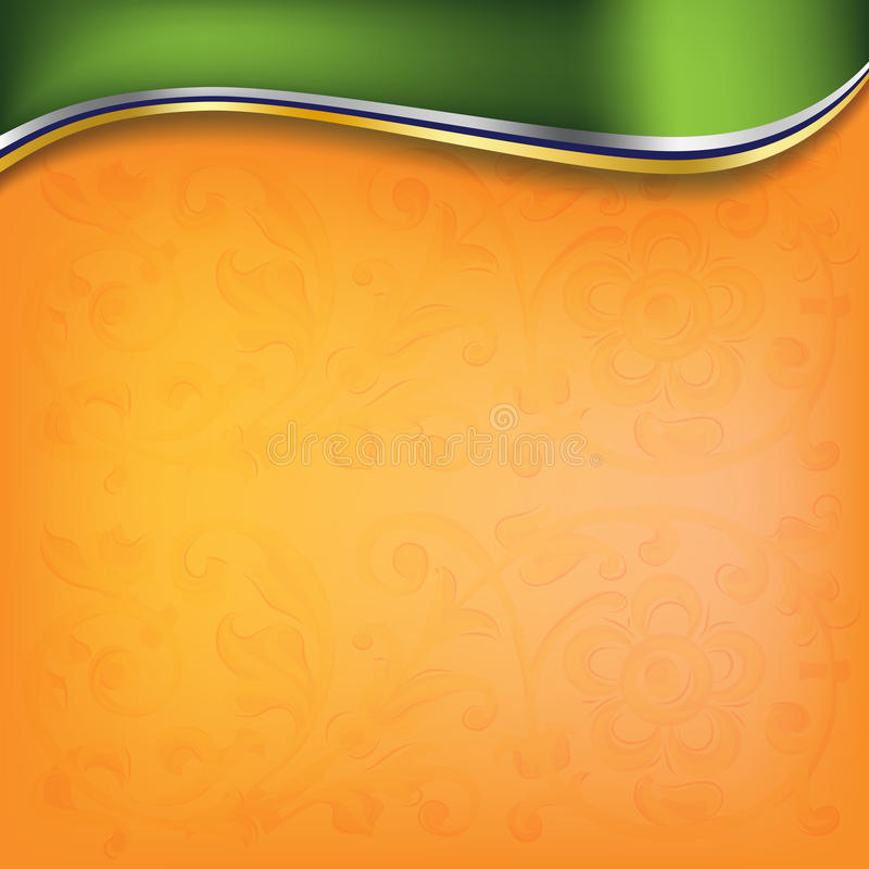 Golden wave on orange background royalty free illustration