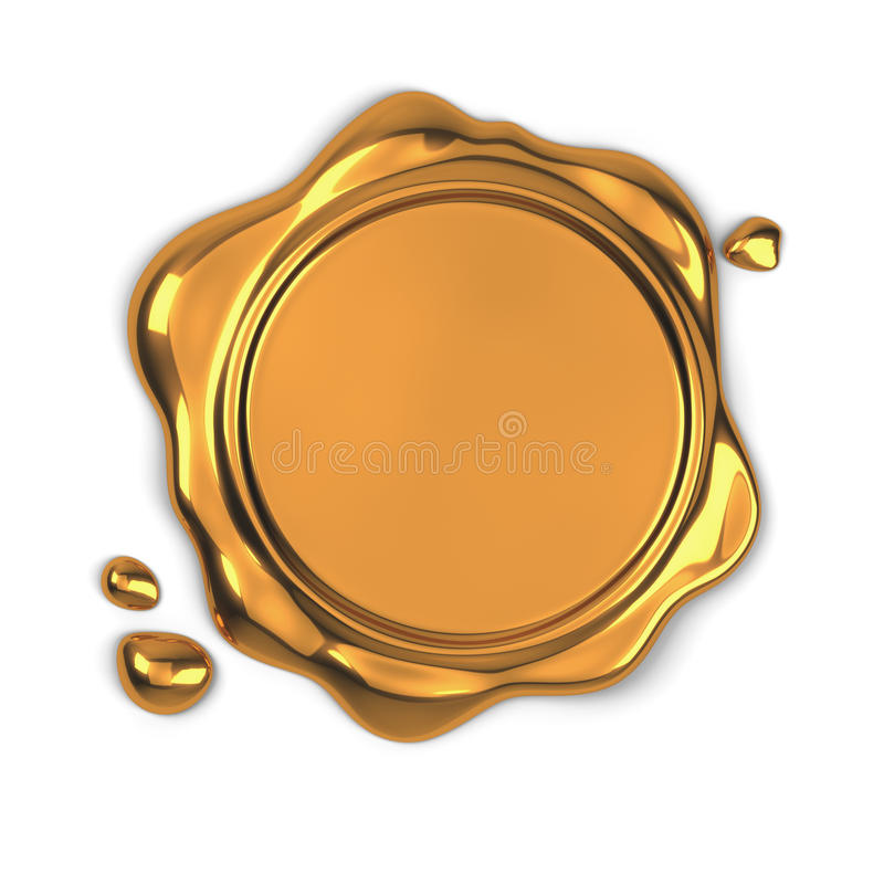 Golden wax seal. 3d render of golden wax seal isolated on white background vector illustration