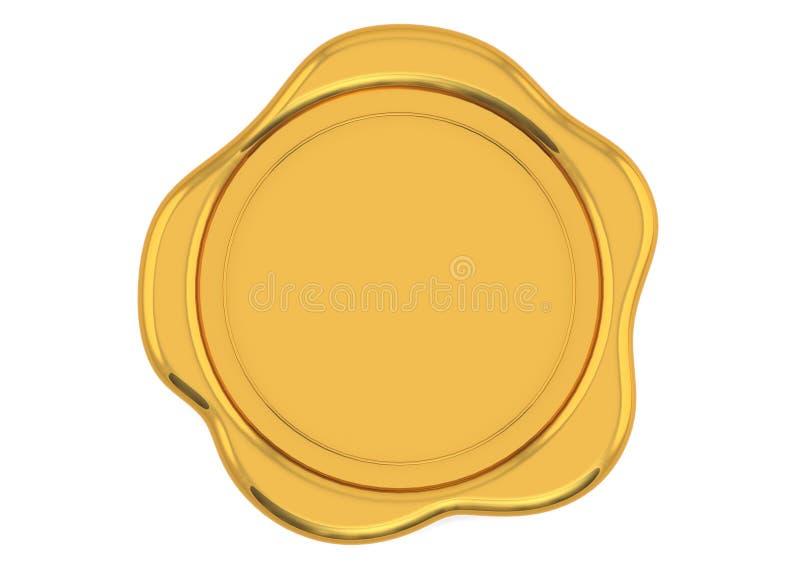 Golden wax seal. On white background stock illustration