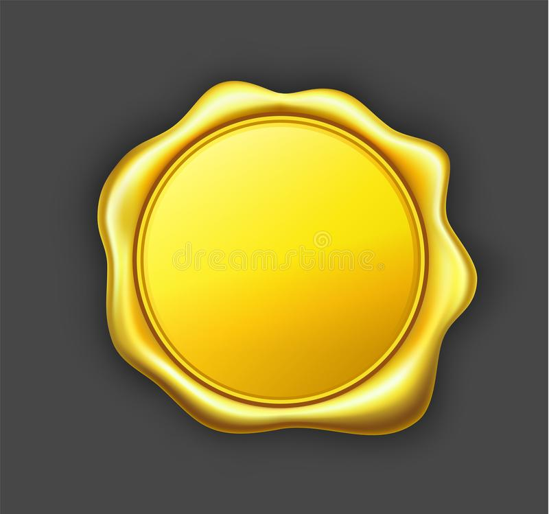 Golden wax seal royalty free illustration