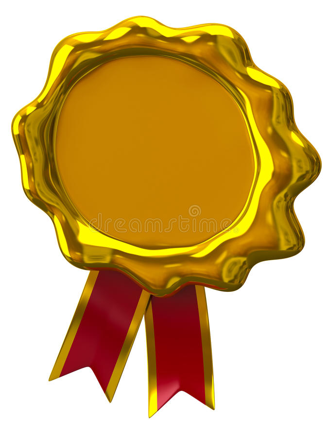 Golden wax seal with ribbon royalty free illustration