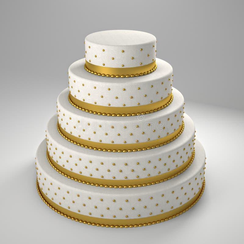 Golden wedding cake royalty free illustration