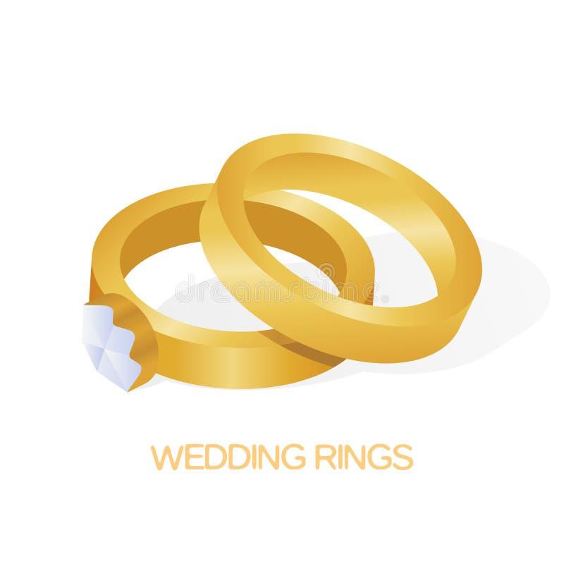 Golden wedding couple ring with big shiny diamond vector illustration.  stock illustration